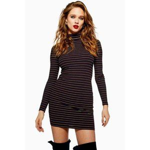 Topshop | Metallic Thread Stripe Funnel Neck Dress